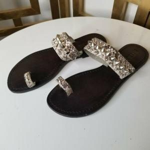 Mystique Leather Snakeskin Stud Slip On Sandal 10